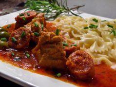 Sauté de veau au chorizo et aux olives